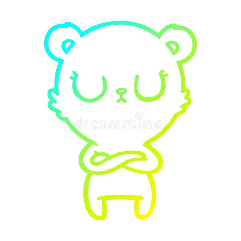 A creative cold gradient line drawing peaceful cartoon polar bear. An original creative cold gradient line drawing peaceful cartoon polar bear stock illustration