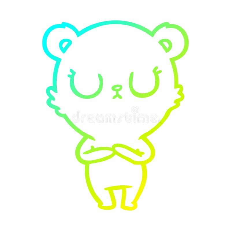 A creative cold gradient line drawing peaceful cartoon polar bear. An original creative cold gradient line drawing peaceful cartoon polar bear vector illustration