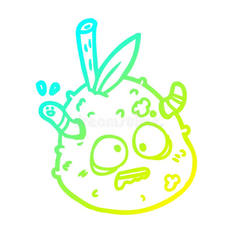 A creative cold gradient line drawing rotting old pear with worm. An original creative cold gradient line drawing rotting old pear with worm royalty free illustration