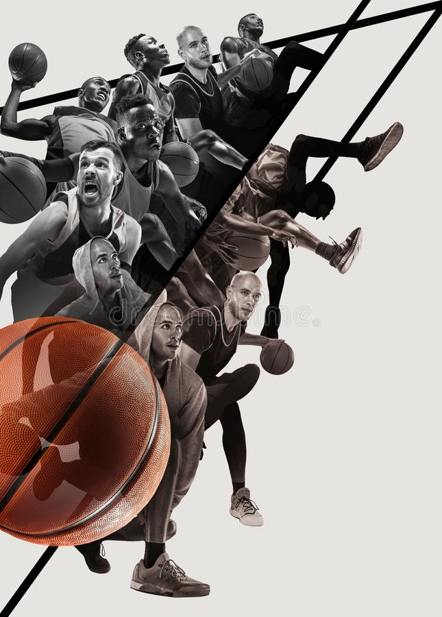 Creative collage of a basketball players in action stock photo
