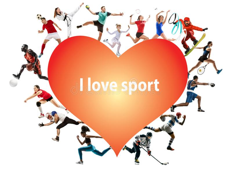 Creative collage of childrens and adults, I love sport. Creative collage of photos of 15 models. I love sport. Ad, healthy lifestyle, motion, activity, movement royalty free stock photo