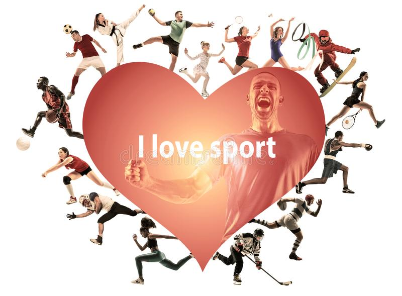 Creative collage of childrens and adults, I love sport. Creative collage of photos of 16 models. I love sport. Ad, healthy lifestyle, motion, activity, movement stock image