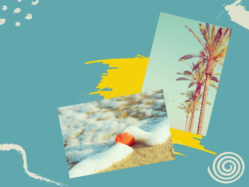 Creative collage with hand drawn doodle design elements. Photos of palm trees sea shell washed by ocean waves on beach on duotone royalty free stock photos