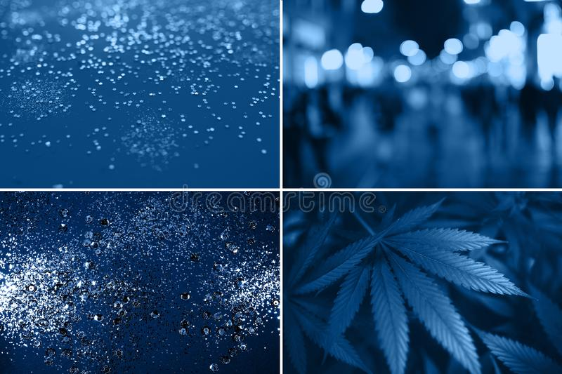 Creative collage inspired color of the Year. Blue abstract background. stock photography