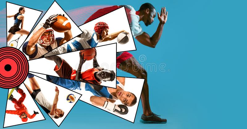 Creative collage made with different kinds of sport. Creative collage made of photos of 8 models. Childrens in sport and healthy lifestyle. Hockey, basketball royalty free stock photos