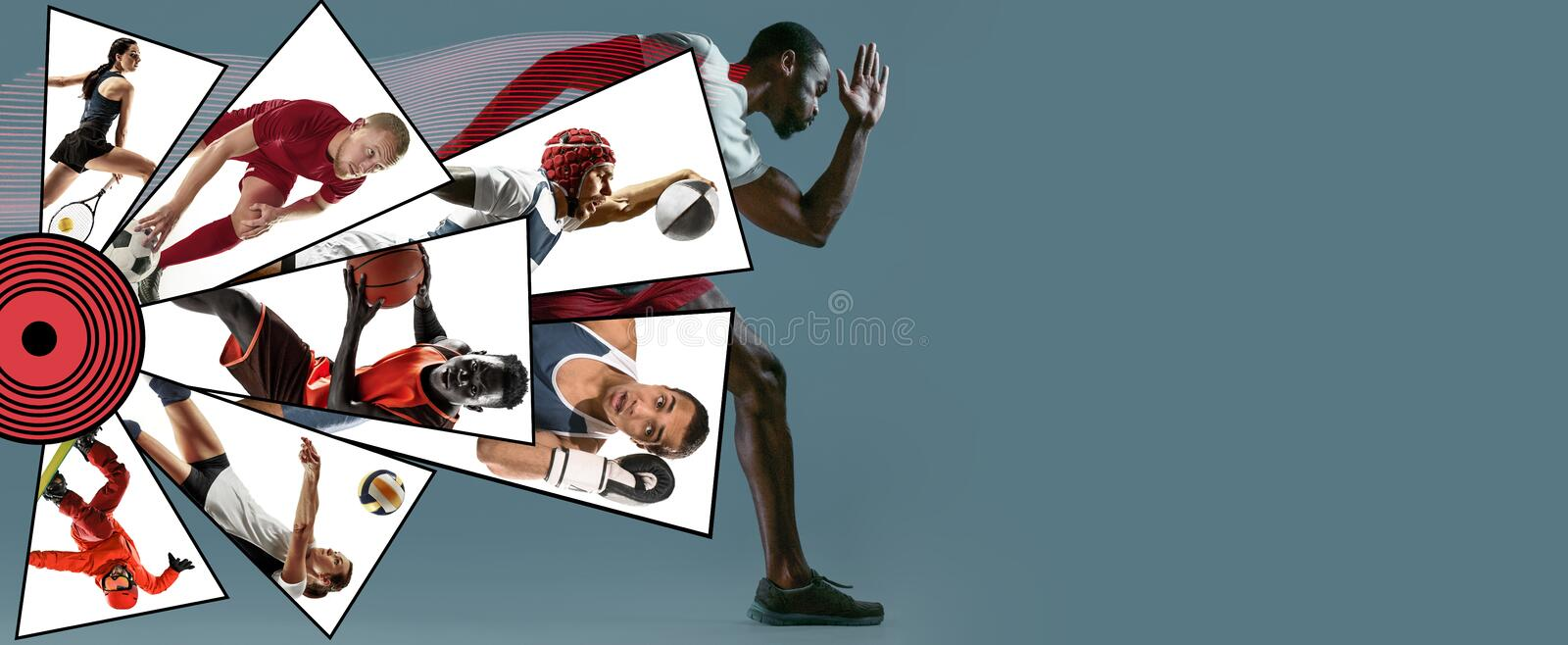 Creative collage made with different kinds of sport. Creative collage made of photos of 8 models. Childrens in sport and healthy lifestyle. Hockey, basketball royalty free stock photography