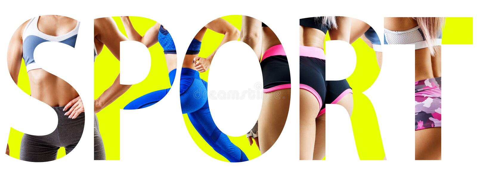 Creative collage of muscular athletic woman with the big word SPORT. stock photography