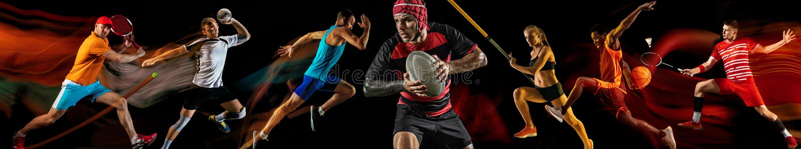 Creative collage of professional sportsmans. Creative collage of photos of 7 models on black in mixed light. Advertising, sport, healthy lifestyle, motion stock image