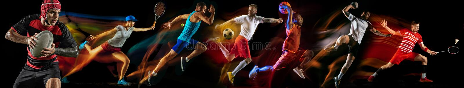 Creative collage of professional sportsmans. Creative collage of photos of 7 models on black in mixed light. Advertising, sport, healthy lifestyle, motion stock photography
