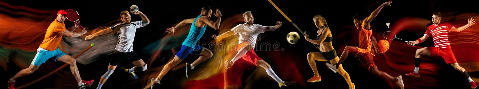 Creative collage of professional sportsmans. Creative collage of photos of 7 models on black in mixed light. Advertising, sport, healthy lifestyle, motion royalty free stock photos