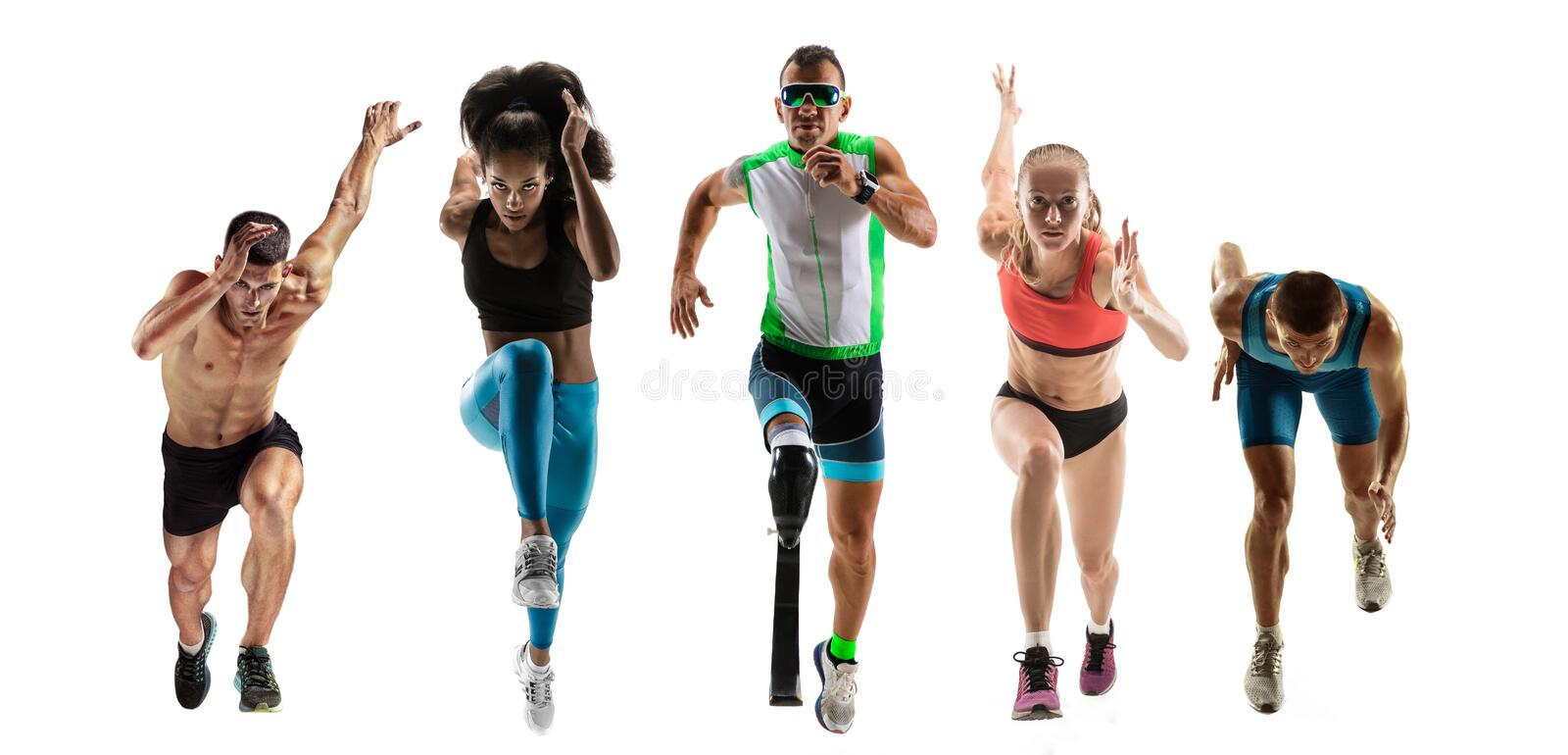 Creative collage of runners or joggers on white background stock photos