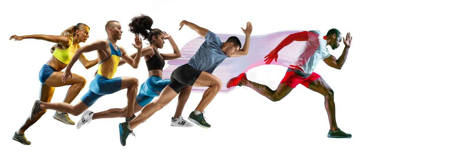 Creative collage of runners or joggers on white background royalty free stock photo