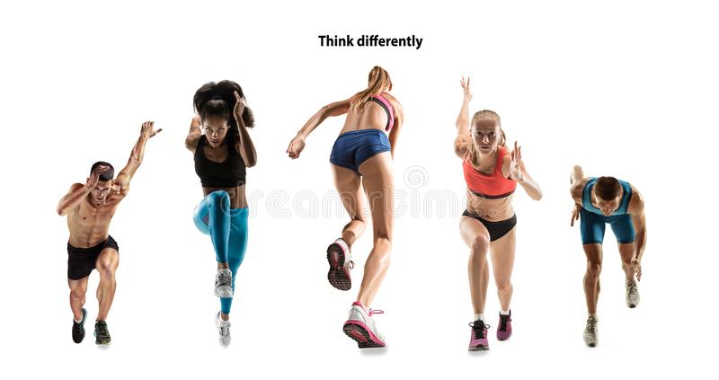 Creative collage of runners or joggers on white background royalty free stock photography