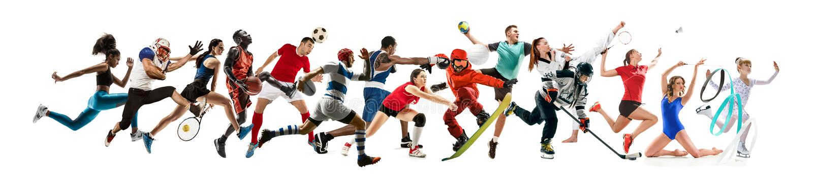 Creative collage of childrens and adults in sport. Creative collage of photos of 15 models running and jumping. Advertising, sport, healthy lifestyle, motion stock images