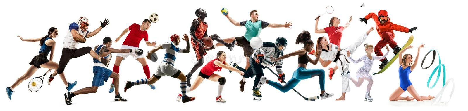Creative collage of childrens and adults in sport. Creative collage of photos of 15 models running and jumping. Advertising, sport, healthy lifestyle, motion royalty free stock photos