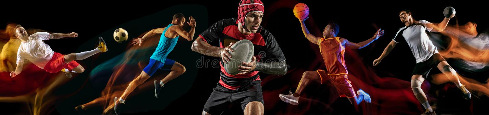 Creative collage of professional sportsmans. Creative collage of photos of 5 models on black in mixed light. Advertising, sport, healthy lifestyle, motion stock photography