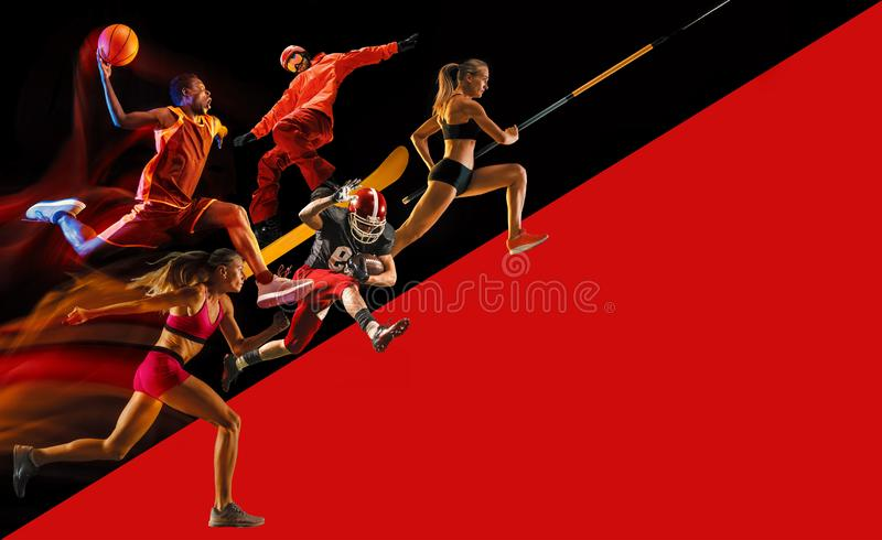 Creative collage of a sportsmen in action. Creative collage of sportsmen in action of game. Black and red background. Advertising, sport, healthy lifestyle royalty free stock photo