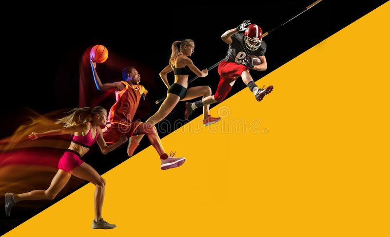 Creative collage of a sportsmen in action. Creative collage of sportsmen in action of game. Black and yellow background. Advertising, sport, healthy lifestyle royalty free stock photo
