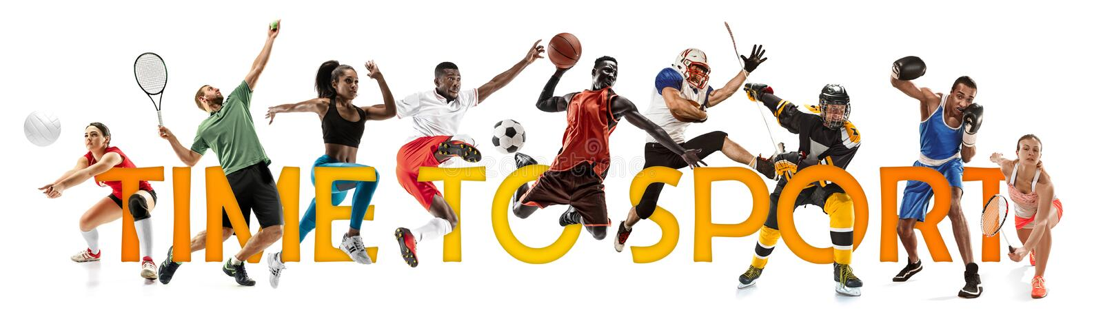 Creative collage of a sportsmen in action. Time to sport. stock image