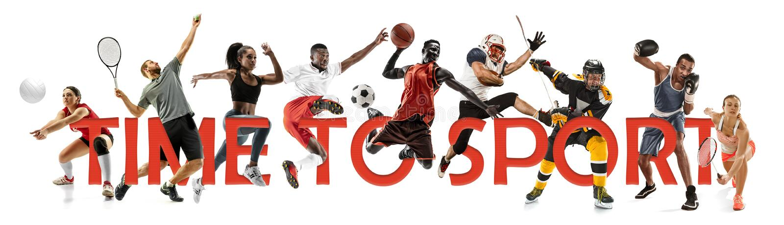 Creative collage of a sportsmen in action. Time to sport. stock photography
