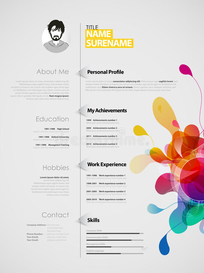 Creative Color Rich CV Resume Template Stock Vector