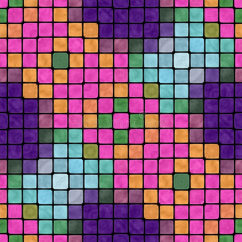 Creative colorful abstract mosaic seamless regular pattern in vivid purple pink orange green blue shades stock illustration