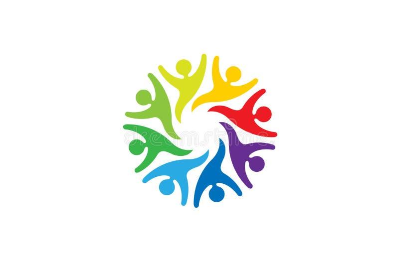 Creative Colorful People Group Team Logo Design Illustration. Creative Colorful Abstract People Characters Logo Design Symbol Vector Illustration vector illustration