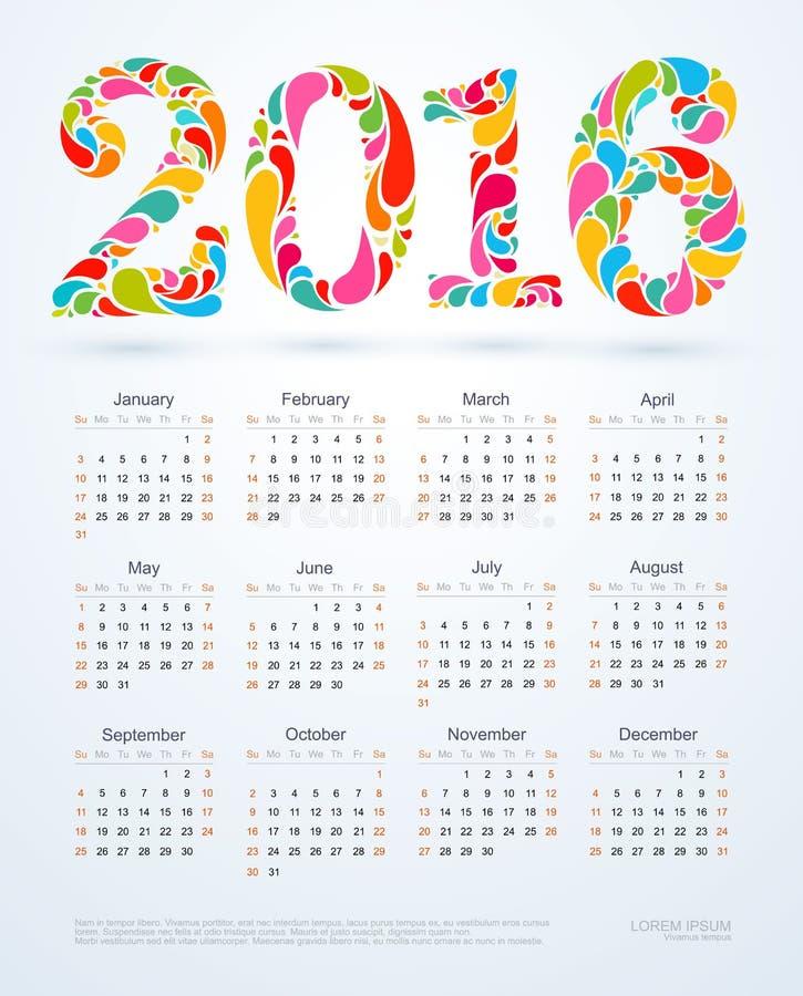 Creative colorful 2016 calendar design.  vector illustration
