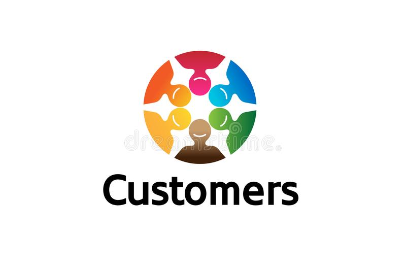 Creative Colorful Crowd Logo Vector Symbol Design. Illustration royalty free illustration