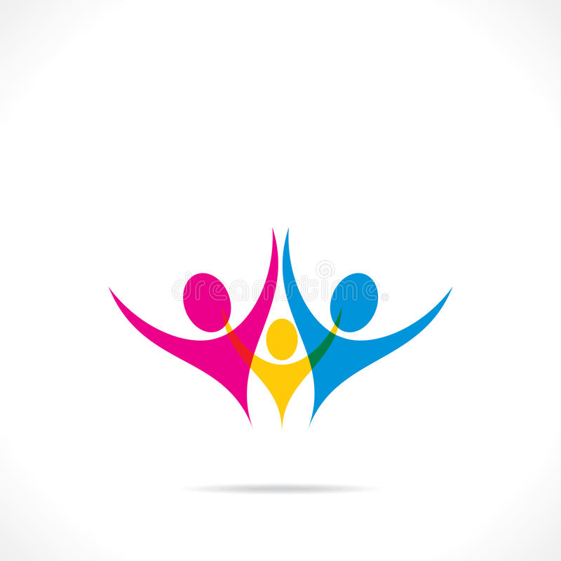 Creative colorful family icon design. Stock vector illustration