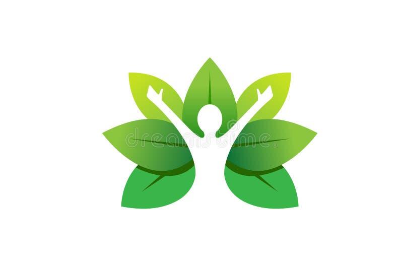 Healing Body Leaves Logo. Design Illustration royalty free illustration