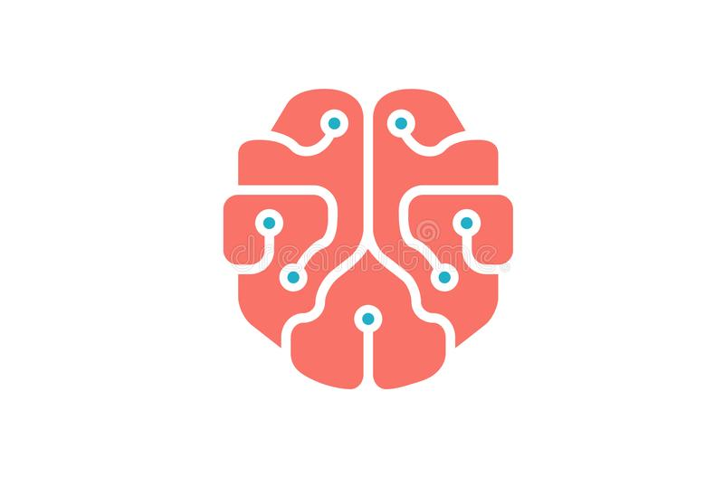 Mindset Technology Pinky Brain Logo. Design Illustration vector illustration