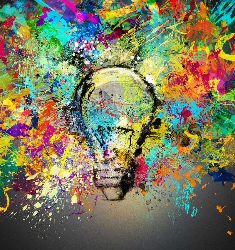 Creative and colorful idea. Concept of a creative idea with drawn and colored bulb with bright colors stock illustration