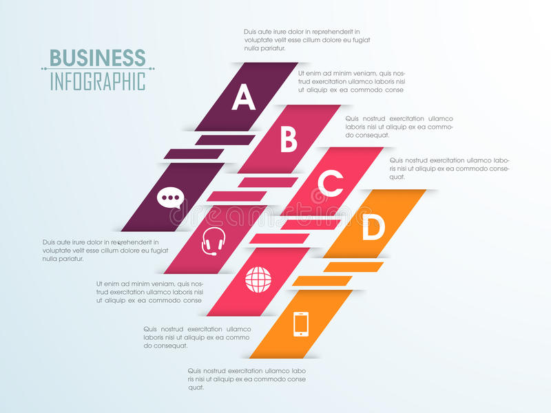 Creative colorful infographic elements. Creative colorful infographic papers with different symbols for your Business stock illustration