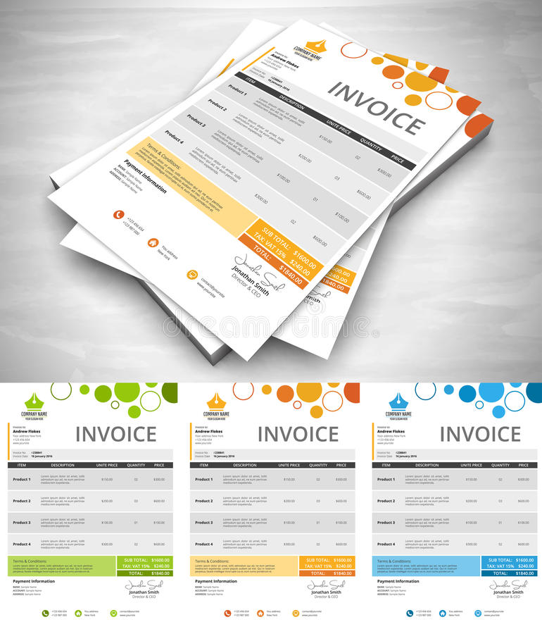Creative Colorful Invoice royalty free illustration