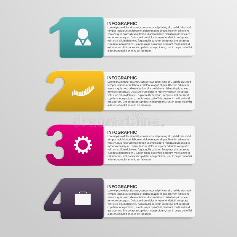 Creative colorful numbered infographic. Design element. Vector illustration stock illustration