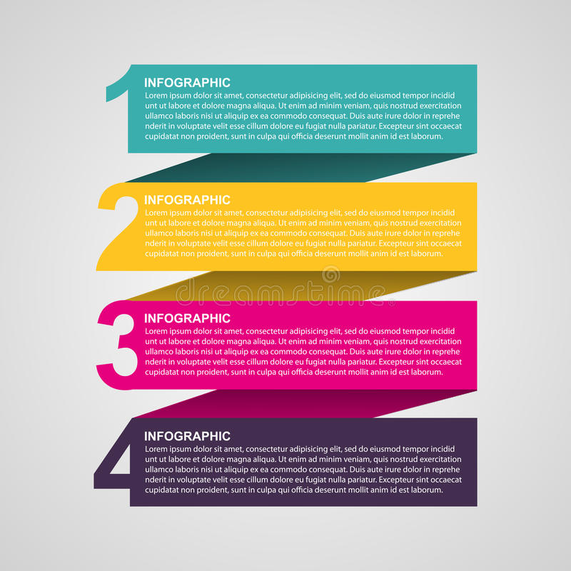Creative colorful numbered infographic in the form of ribbons. Design element. Vector illustration royalty free illustration