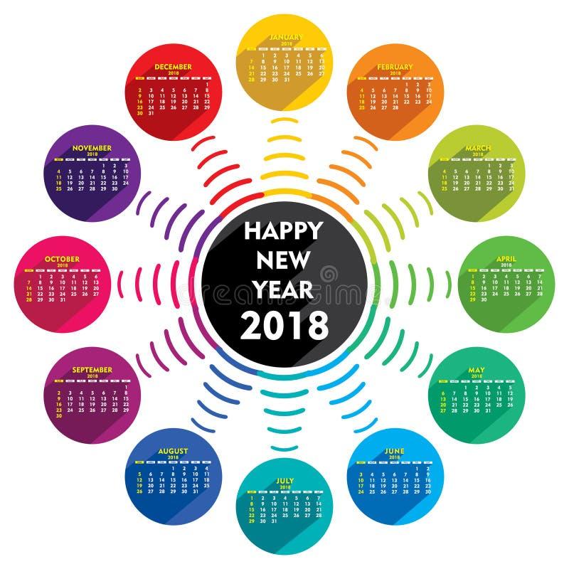 Creative New Year 2018 Calendar Template Design Stock Vector