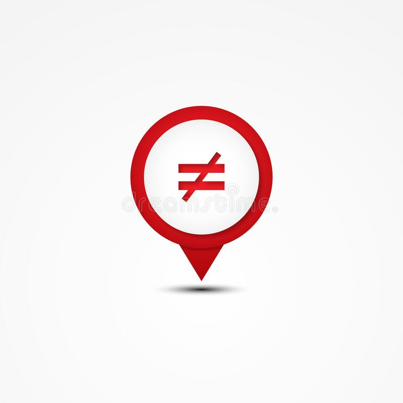 Creative combination not equal mathematics symbol and map pointer. Unique combination. Vector illustration EPS.8 EPS.10 stock illustration