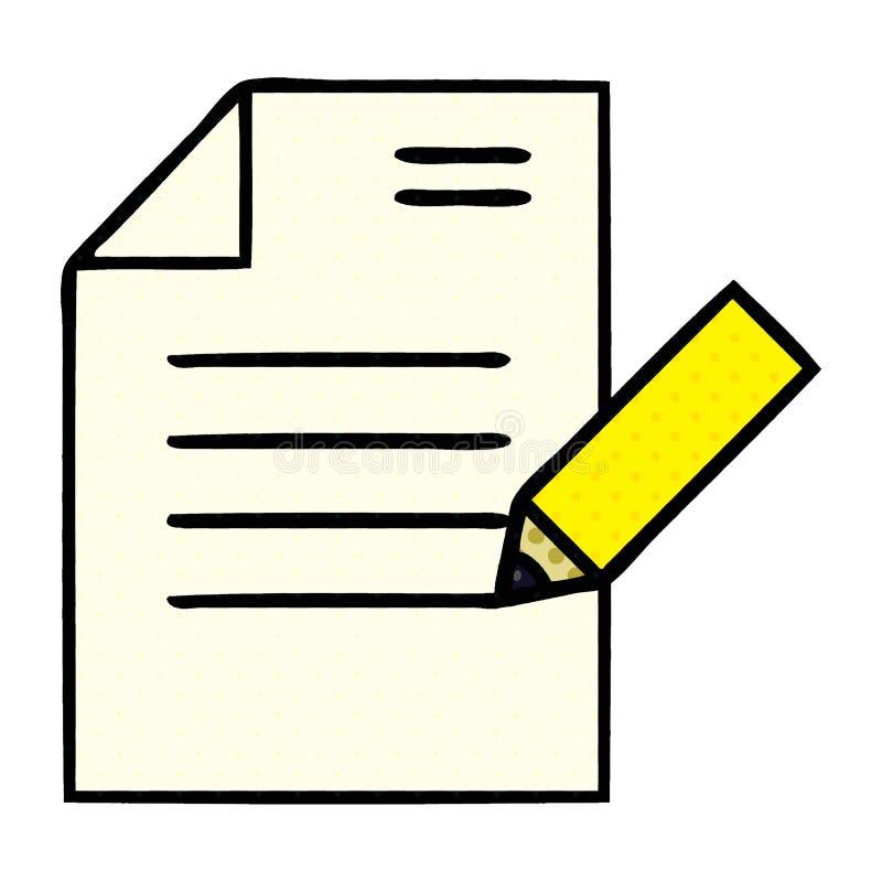 A creative comic book style cartoon of writing a document. An original creative comic book style cartoon of writing a document vector illustration