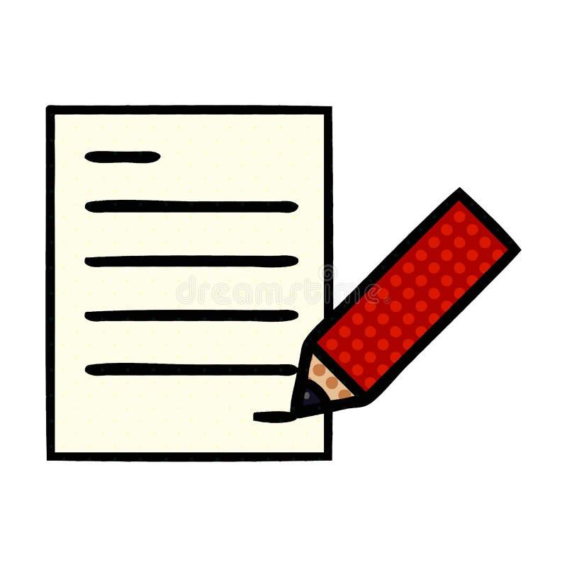 A creative comic book style cartoon of writing a document. An original creative comic book style cartoon of writing a document royalty free illustration