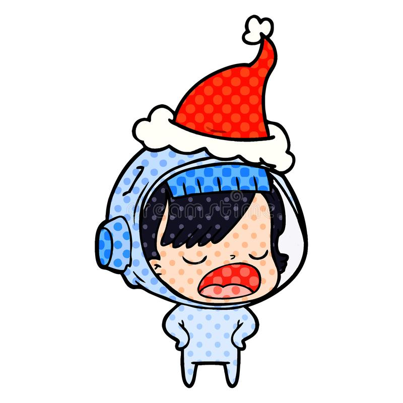 A creative comic book style illustration of a astronaut woman explaining wearing santa hat. An original creative comic book style illustration of a astronaut royalty free illustration