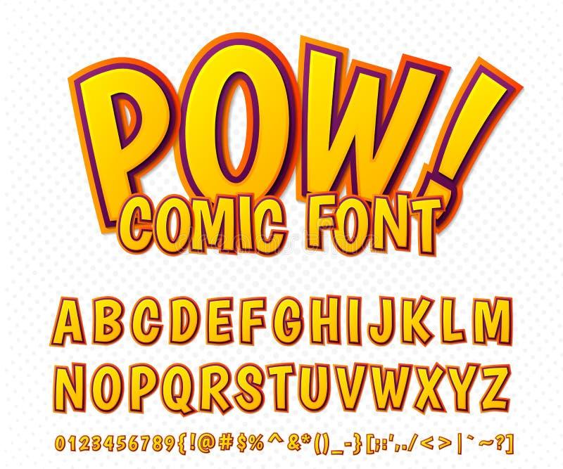 Creative comic font. Vector alphabet in style pop art royalty free illustration