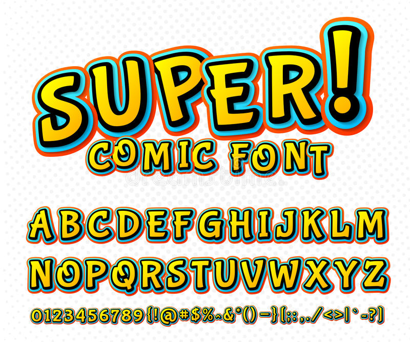 Creative comic font. Vector alphabet in style pop art. Creative high detail comic font. Alphabet in the style of comics and pop art. Multilayer funny colorful vector illustration