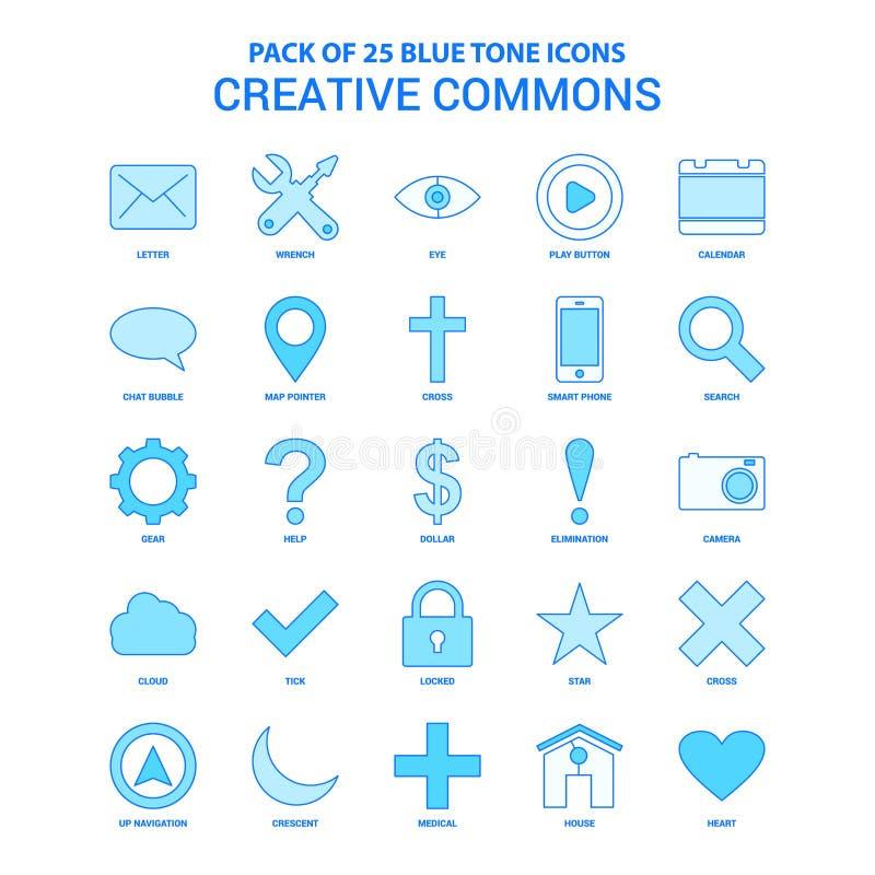 Creative Commons blått Tone Icon Pack - 25 symbolsuppsättningar stock illustrationer