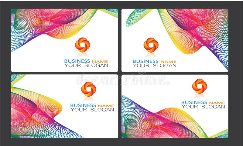 Creative company business cards templates collection with logo. Creative business cards templates collection with company free logo illustration eps file vector illustration