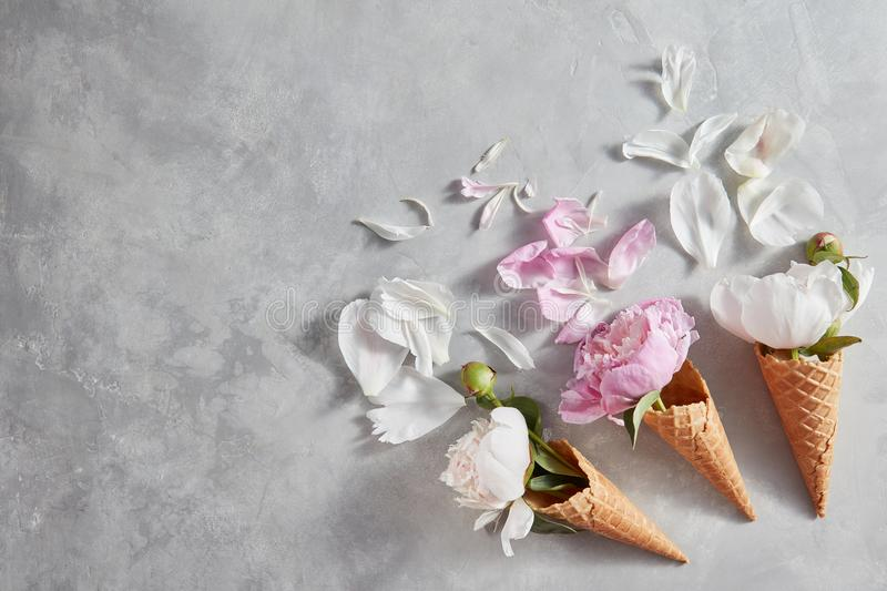 Creative composition from delicate flowers in a wafer cones with petals on a gray stone table. Flat lay royalty free stock photography