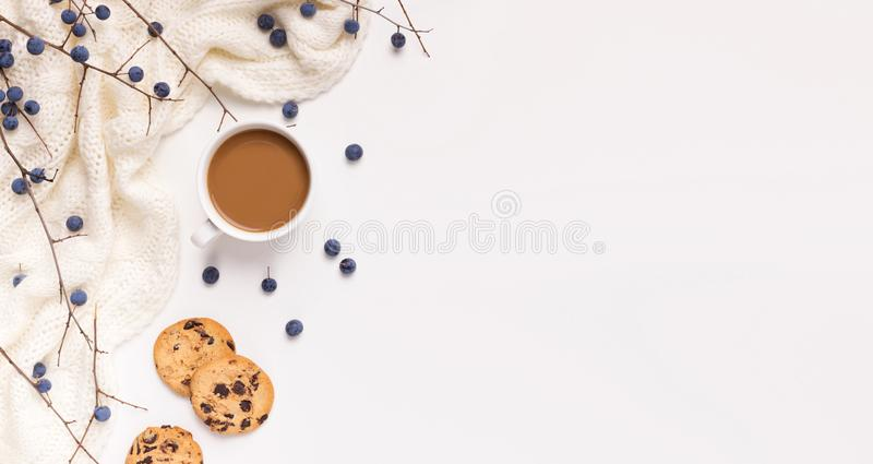 Creative composition of hot coffee or chocolate for autumn days. Creative composition of hot coffee or chocolate for cold autumn rainy days, panorama, white stock photography