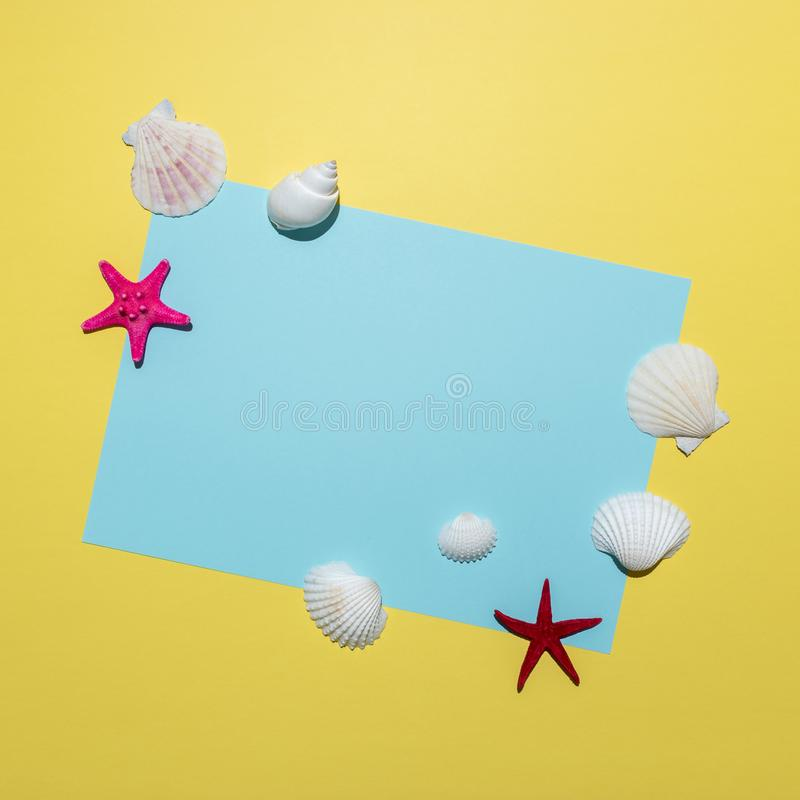 Creative composition with seashells and blue paper card on bright yellow background. Summer minimal concept.  royalty free stock images