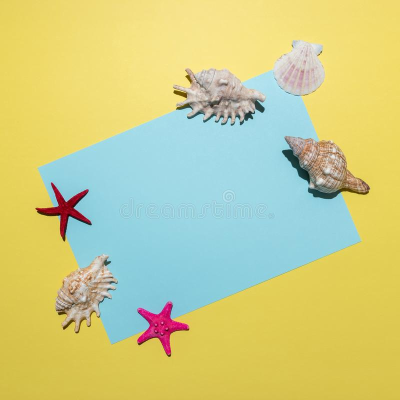 Creative composition with seashells and blue paper card on bright yellow background. Summer minimal concept.  stock image
